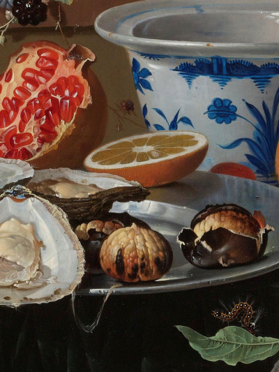 Abraham Mignon, <i>Still Life with Fruit,Oysters, <br>and a Porcelain Bowl</i>, 1660 - 1679