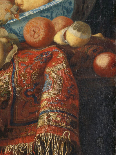 Simon Luttichuys (attributed to), Francesco Fieravino <br>(named Il Maltese)(rejectedattribution), <i>Still Life with Fruit,<br>Plates and Dishes on a Turkey Carpet</i>, 1650 - 1680