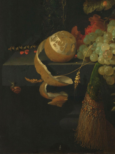 Abraham Mignon, <i>Still Life with Fruit<br>and a Goldfinch</i>, 1660– 1679